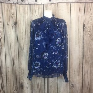 WHBM Blue Floral Ruffle Neck Blouse Medium